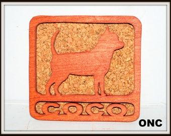 Chihuahua Ornament, Name, Coaster, Scroll Saw, Wood, Cherry