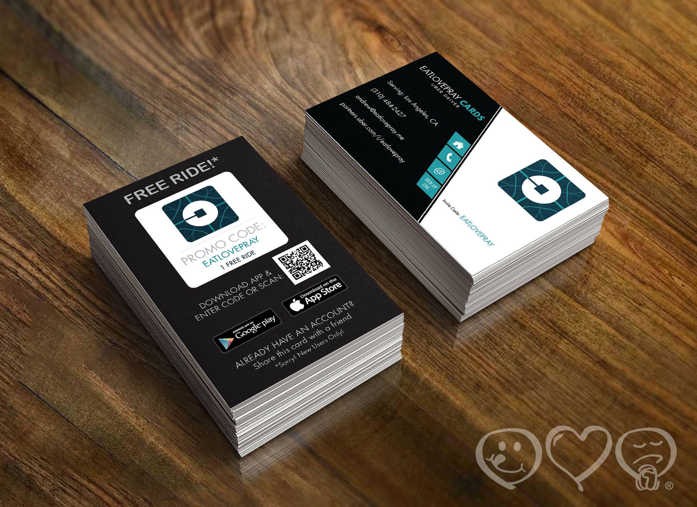 Uber Business Cards with Free Uber Promo on back side 16pt