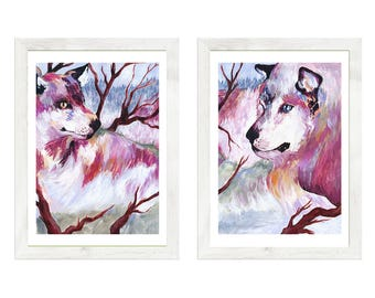 Tale of Two Wolves - wolf painting, animal wall art