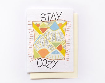 Stay Cozy Card, Holiday Greeting Card