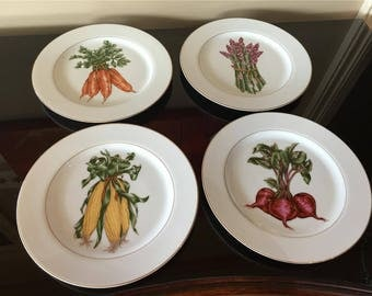 Set of 4 Fitz & Floyd VEGETABLE HARVEST Luncheon Plates Mint Condition