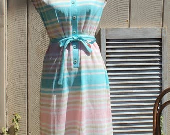 Vintage! Marty Gutmacher. Pastel/Pink/blue/yellow/striped/button/dress/with belt. 1960s/1970s. ADORABLE dress! Very cute!