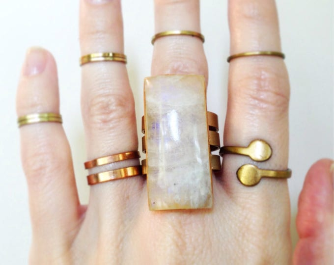 Rainbow Moonstone Triple Band Brass Ring, Size 10