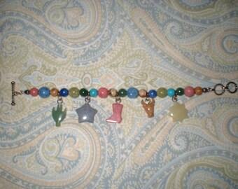 Southwestern COWGIRL Cowboy Bracelet semi-precious stones with charms like Jes Maharry