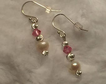 crystal and freshwater pearl earrings