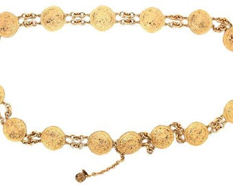Chanel #13615 Rare Cc 16 Motif Medallion Textured Belt 2way Necklace