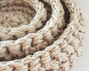 Jute Crocheted Bowls