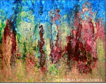 Abstract Art Prints Acrylic Paintings Giclee Canvas Art Blue Red Green Abstract Landscape Contemporary Nature WALL ART PRINTS Home Decor Art