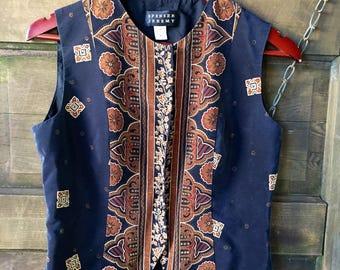 Vintage 90's Ethnic Print Sleeveless Silk Semi Crop Vest Top by Spensor Jeremy size medium