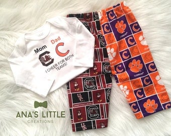 Custom House Divided Bodysuit ( South Carolina Gamecocks - Clemson Tigers) I Cheer For Both Teams and Pants or Shorts 2pc Set