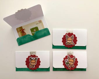 Cute Reindeer Gift Card Envelopes