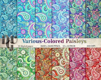 40% Paisley digital paper: Various-Color PASLEY Digital Paisley Paper, 12 Bright Colorful Paisley Digital Papers Pack, Printable Paisley #01