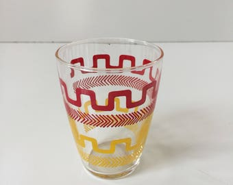 Vintage Juice Glass Swanky Swig Red Yellow