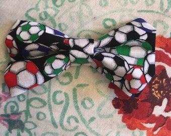 Soccer Clip on Bowtie/hair bow/sports bow
