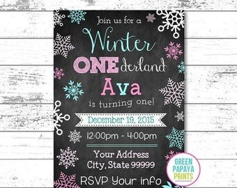 25% OFF Winter Onederland Invite - Invitation - Digital File - Printable - Pink and Teal - Snowflake - Girl's First Birthday Invitation