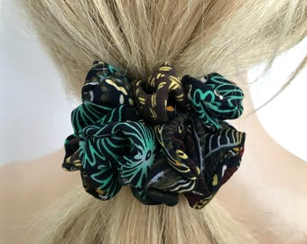 Army Green Skinny Scrunchie, Boho Hair Accessories, Gentle Hair Ties and Elastic by Just Scrunchies for Messy Buns and Ponytails