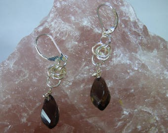 Sterling Silver Earrings. Smokey Quartz.  Chainmaille
