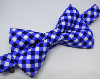 Midnight Blue Cross Check Bow Tie For Boy/Baby/Teen/Adult/With Adjustable strap/Clipon