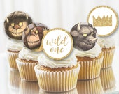 """Where the Wild Things Are 2"""" circle favor printable tags, Wild One Party, first birthday, baby shower, cupcake toppers, INSTANT DOWNLOAD"""