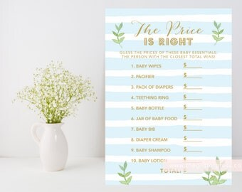 Blue stripe baby boy shower Price is Right Shower game printable, blue and gold, leafy green, modern shower, INSTANT DOWNLOAD 012
