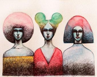 Original Watercolor painting Three Women. Original watercolor Ink Painting. Watercolor Female portrait. Watercolor ink illustration