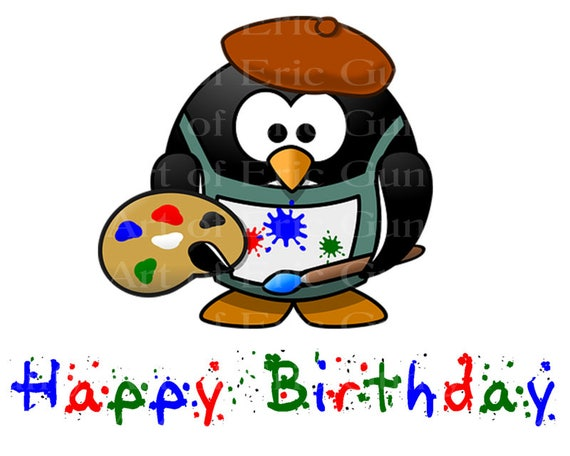 Artist Penguin Birthday - Edible Cake and Cupcake Topper For Birthday's and Parties! - D22829