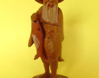 CARVED ASIAN FISHERMAN Wood Articulated Fishing Hook Hair Queue Old Chinese Man Long Beard Barefoot Removable Hat Handmade Vintage Two Fish