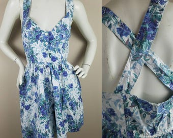 1990s vintage romper | blue white  floral | large | pockets