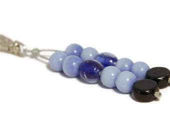 Keychain Charm, Bag Charm, Purse Charm, Boho Charm, Planner Charm, Beaded Bag Charm, Bag Clip, Blue Bag Clip, Blue Bag Charm, Bag Dangle