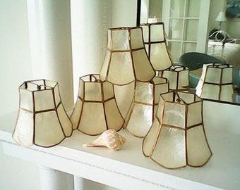 FIVE CAPIZ LAMPSHADES Iridescent Scalloped Mid Century