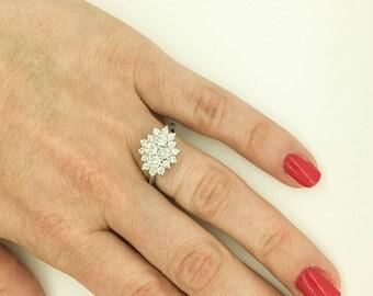 Art deco ring-Diamond Ring 1 carat- Unique diamond ring- Promised ring-Gold ring-Anniversary ring- Statement ring-Multistone rings