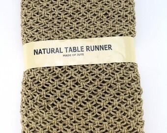"Handmade Macrame Burlap Table Runner, 14 x 72"", Natural Brown  (BHM01-R12)"