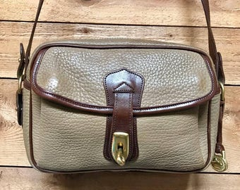 Vintage Dooney & Bourke Turnlock Crossbody Bag Vtg Taupe Pecan Brown Leather Shoulder Bag Made in USA