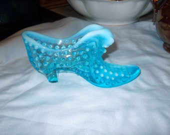 Vintage Fenton Blue Glass Shoe, Opalescent, Cat