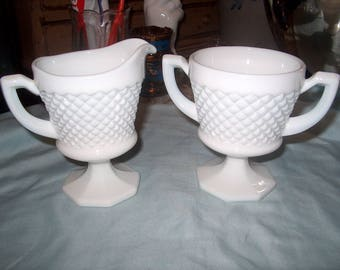 Antique Vintage Westmoreland Milk Glass Cream & Sugar Bowl, English Hobnail