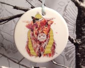 Christmas Decoration, Winter, Highland Cow, Animal, Wild, Illustrated, Ceramic, Christmas Tree, Personalised Decoration, Bauble,Wall Hanging