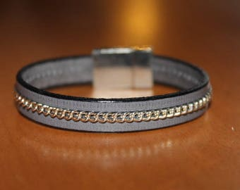 grey leather and chain, magnetic bracelet