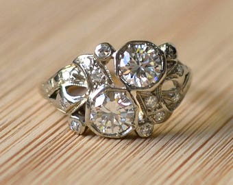 1920s 1.25 CTW Diamond Engagement Ring - Platinum Diamond Ring, Half Carat Diamond, Size 5, Art Deco, Vintage, Toi et Moi, Antique