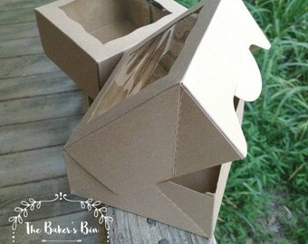 "HALF CASE • 50 Each •  9"" x 9"" x 2 1/2"" Kraft Brown/Brown Bakery Box With Window - Easy Open Box ~ Bakery + Cookie  Box ~ Mini Pies"