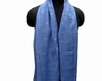 Blue scarf/ star printed scarf/ fashion  scarf / double sided scarf/ / gift scarf/ gift ideas.