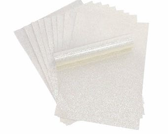 A4 Glitter Paper WHITE Sparkly Soft Touch Non Shed Thick 150gsm Paper Pack of 10 Sheets