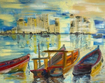 PANAMA - boats landscape painting - painting oil on canvas 33 X 41 cm frame
