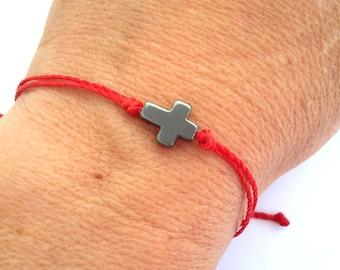 Hematite Cross String Bracelet, Red String Bracelet, Black String Cross Bracelet