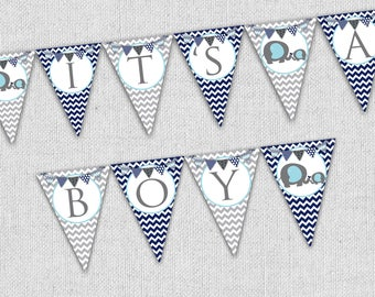 Elephant Baby shower banner, it's a boy banner, instant download printable banner, navy blue and gray elephant banner, baby shower decor