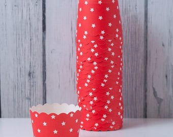 25% OFF SALE Red and White Stars - Baking Cups for Cupcakes, muffins, Dessert & Nuts - Set of 24