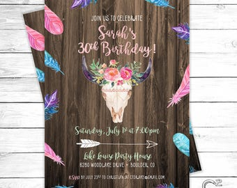 Boho Birthday/Bachelorette Party Invitation