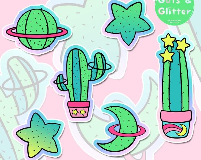 Mini Space Cactus Holographic Sticker Pack