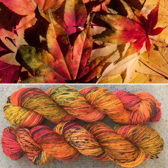 Leaf Litter DK, Autumn indie dyed merino nylon  fall sock yarn