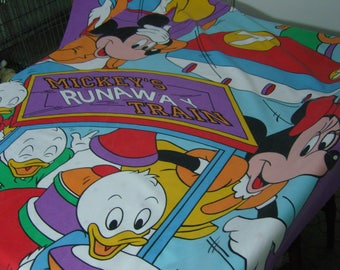 Vintage Mickey Mouse Runaway Train Single Duvet Cover