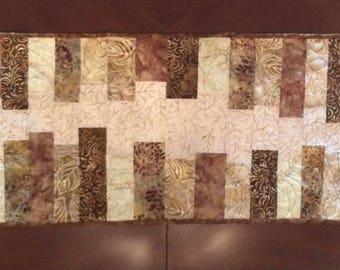 """Batik earth tone table runner - 15"""" x 50"""" long -"""